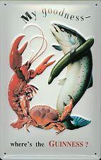 Guinness Lobster Crab Fish large embossed metal wall sign   (hi 4030)