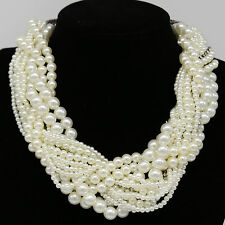 Luxury Multi Layer String Twist Faux Pearl Chunky Choker Bib Statement Necklaces