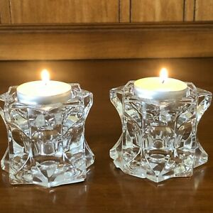 Mikasa Sparkling Star Votive/Candle Holders Set of Two New In Box Japan