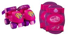 First Roller Skates For Toddler Kids Girls Pink Skating Wheels With Knee Pads US