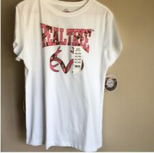 Womens Ladies Realtree T Shirt White Camo Size Large