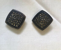 Sterling & Marcasite Square Clip On Earrings MC 925