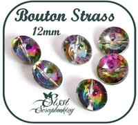 LOT 6 BOUTON FORME RONDE STRASS A COUDRE COUTURE 11mm LAYETTE GILET TRICOT MODE