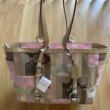 Genuine Coach Signature Patchwork Gallery Tote Handbag Pink/Brown/Beige NWT