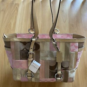 Genuine Coach Signature Patchwork Gallery Tote Handbag Pink/Brown/Beige NWT