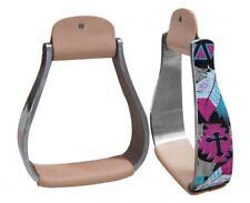 "Showman Aluminum Barrel Racing Holographic Cross Feathers Saddle Stirrups 3""neck"