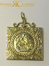 9ct Gold  St Georges Coin Pendant Set in a Square Filigree Setting 12g