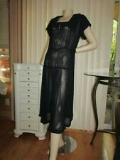 Vintage 30s 1940s Dark Color Pleated Sheer Drop Waist Dress