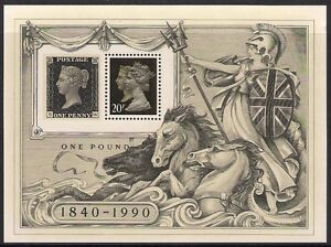 GB 1990 sg ms1501 Stamp World London Penny Black Miniature Sheet MNH