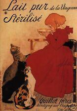 Grußkarte: Katzen, Mädchen und Milch - Reprint Lithographie - Théophile Steinlen