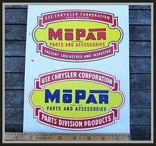 Two 1940s Mopar Parts & Accessories Decals 1950s Chrysler Plymouth Dodge Display