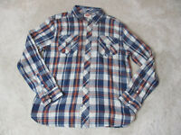 Levis Pearl Snap Button Up Shirt Adult Extra Large Blue Red Rodeo Western Cowboy
