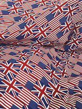 "Red White Blue Union Jack & Star Spangled Flag Poly Cotton Fabric 44""W BTY"
