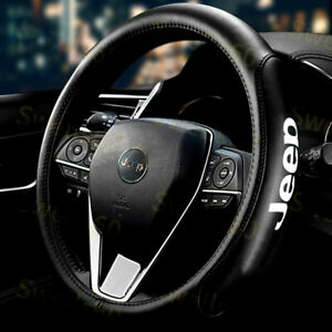 """15"""" Car Steering Wheel Cover Genuine Leather For Jeep New"""