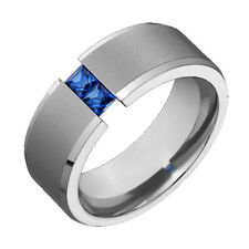 Mens Titanium Wedding Band Blue Sapphire Tension Set Comfort Fit Ring Sz 4 to 14