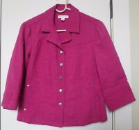 Coldwater Creek Fuchsia Pink Textured Snap Front Jacket Blazer Women's Size P 14
