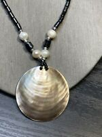 Bohemian Mother Of Pearl Freshwater And Hermatite  pendant necklace 18""