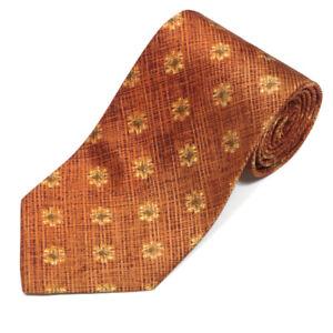 ERMENEGILDO ZEGNA Copper Crosshatch Floral Sunflower Burst Men's Silk Neck Tie