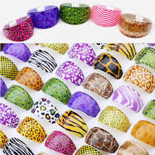 WHOLESALE 50pc MIX RESIN LUCITE ANIMALS SKIN STYLES COSTUME RINGS BULK PARTY Top