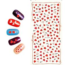 Nail Art Water Decals Stickers Transfers VALENTINES Day Red Love Hearts (YE270)