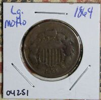 1864 2 CENT PIECE LG MOTTO COPPER COLLECTOR COIN FREE SHIPPING