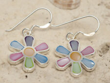 NEW cute Flower Power earrings, shell inlay in solid genuine 925 Sterling Silver