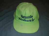 VTG 80's ASIS Seattle SEAHAWKS beach cap nylon lime green neon hat snapback NFL