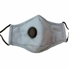 10x GREY COTTON FACE MASK WITH FILTER + VALVE WASHABLE REUSABLE BREATHABLE UK