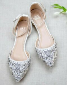 New Kate Whitcomb Bridal Flat Shoes with Rhinestones Size 8.5