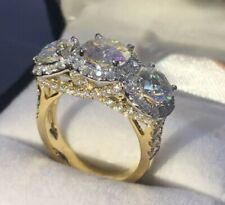2.86CT Round Diamond 3 Stone Engagement Anniversary Ring 14K Yellow Gold Over