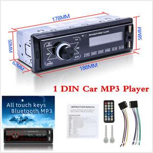 Bluetooth Car Stereo MP3 Player Single 1DIN Radio LCD Screen FM USB Head Unit