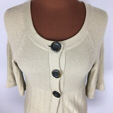 Willi Smith Womens Cardigan Sweater Small S Oatmeal Beige 3/4 Sleeves Button L56
