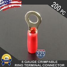 8 Gauge Gold Ring Terminals Wire Cable Connectors Red Boot Electrical 200pcs US