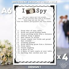 4 x Wedding I Spy Cards Wedding Game Camera Table Favour Children Activity A6
