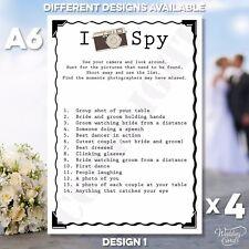 4 x nozze matrimonio MI SPY carte gioco tavolo fotocamera favore attività bambini A6