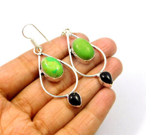 Green Copper Turquoise .925 Silver Plated Earring Jewelry JC9585