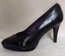 New MPS Michael Shannon Ashley Black Patent Wingtip Design Heels sz 11 M