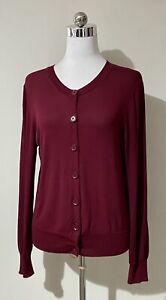 Witchery Size 12 Burgundy Knit Top Button Cardigan V-Neck L/S Lightweight