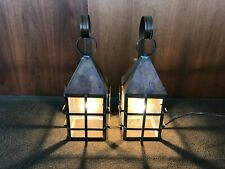 Pair Vintage Arts & Crafts Wall Sconces Lantern Style - Copper & Glass