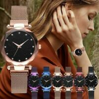 Women Fashion Watch Starry Sky Crystal Magnetic Stainless Band Wrist Watch New