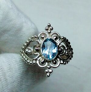 925 Sterling Silver Ring Blue Topaz Ring Handmade Ring Fine Jewelry R07