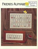 Friends Alphabet Cross Stitch Pattern Leaflet Elizabeth's Designs 2003