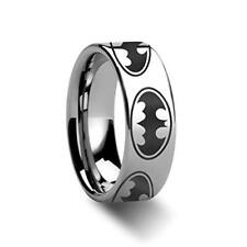 Batman Dark Knight Super Hero Polished Tungsten Engraved Ring Jewelry - 8mm