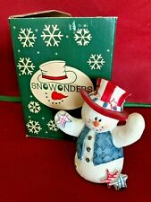 "Sarah's Attic Snowonder ""July"" Freedom Snowman Figurine Mint In Box Rare"