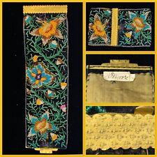 More details for exquisite georgian / regency velvet embroidered hand beaded floral cuff bracelet