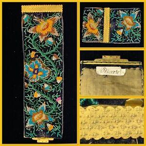 Exquisite Georgian / Regency Velvet Embroidered hand Beaded Floral Cuff Bracelet