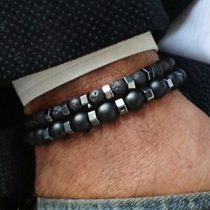 2Pcs Men's Punk Black Hematite Stainless Steel Beads Bracelet Bangle Jewelry