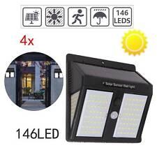 4PCS 146LED Outdoor Garden Security Lights Solar PIR Motion Sensor Wall Lamp