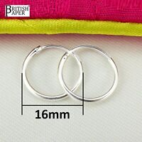 16mm Small Solid 925 Sterling Silver Hoop Sleeper Earrings Nose Clip Studs Rings