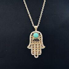 Hamsa Fatima Hand Anhänger mit blaue Auge und Strass. Halskette 50 cm